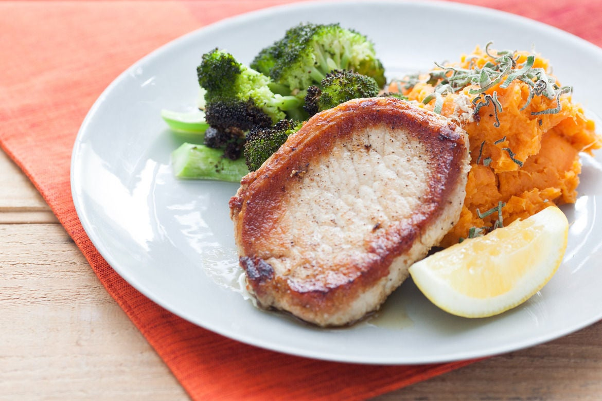 Pork Chops with Smashed Sweet Potato, Roasted Broccoli & Herbs