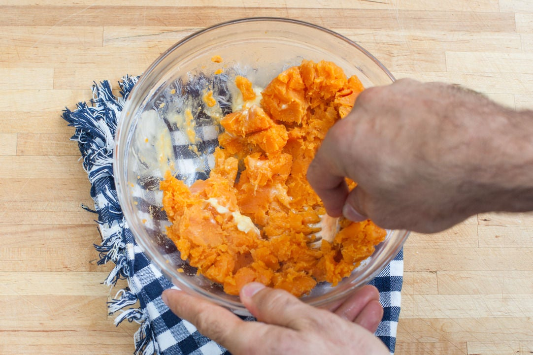 Smash the sweet potato: