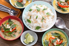 Coconut Fish Curry with Baby Bok Choy & Jasmine Rice
