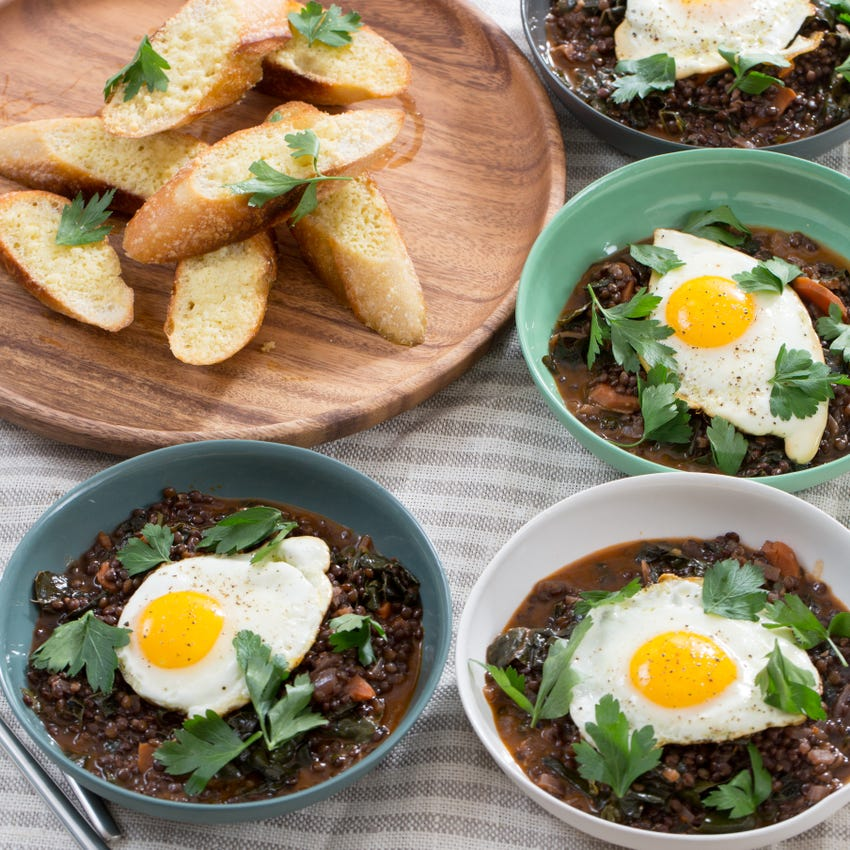 Hearty Beluga Lentil Stew with Fried Eggs & Pecorino Cheese Toast