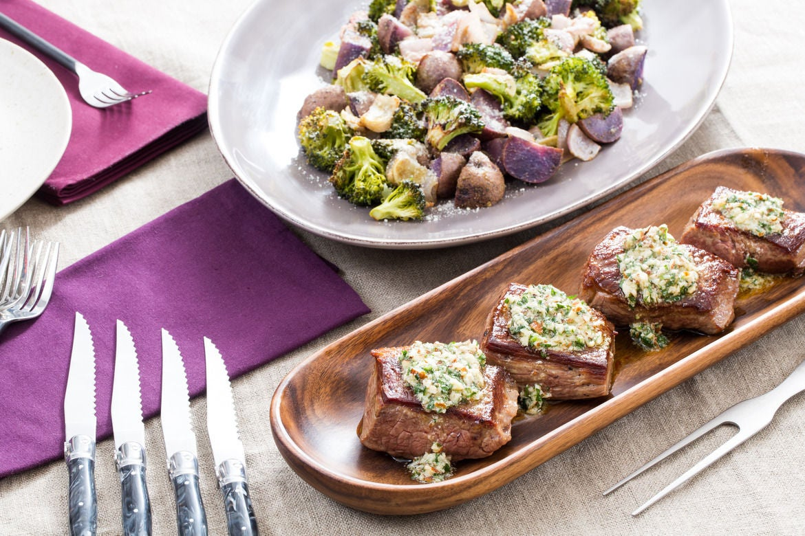 Pan-Seared Steaks & Salsa Verde with Roasted Broccoli & Purple Potatoes