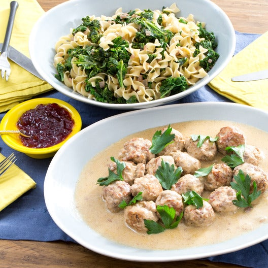 Swedish-Style Turkey Meatballs with Egg Noodles & Lingonberry Jam