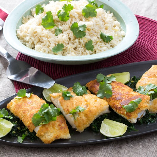 Almond-Crusted Cod with Coconut Rice & Ginger Spinach