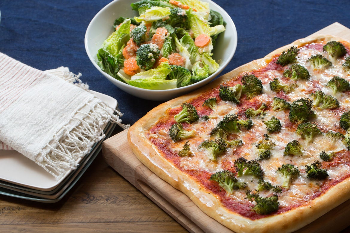 Parmesan & Provolone Pizza with Broccoli, Carrot & Romaine Salad