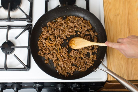 Cook the aromatics & finish the beef: