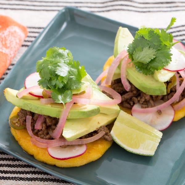 Arepas de Carne Molida with Avocado & Pickled Jalapeño