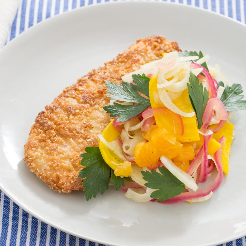 Matzoh-Crusted Chicken with Orange, Fennel & Golden Beet Salad