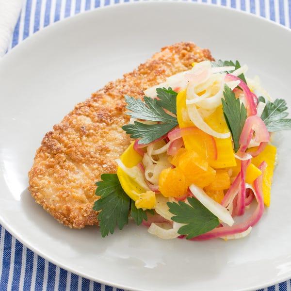 Matzoh-Crusted Chicken with Orange, Fennel & Golden Beet Salad