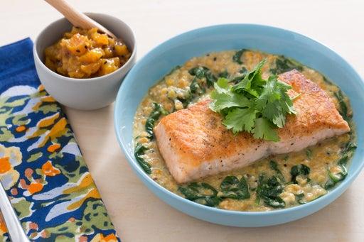 Lentil-Crusted Salmon with Spinach-Yogurt Dal & Apricot Chutney