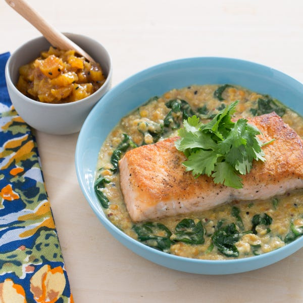Lentil-Crusted Salmon with Spinach-Yogurt Dal & Apricot Chutney