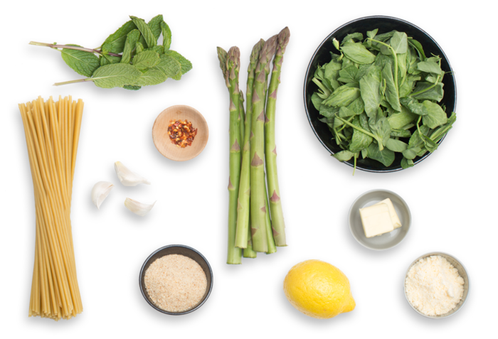Spring Bucatini Pasta with Pea Tips, Asparagus & Mint ingredients