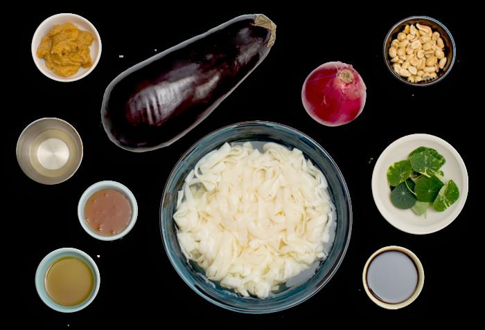 Miso Tofu Shirataki Noodles with Roasted Eggplant & Nasturtium Leaves ingredients