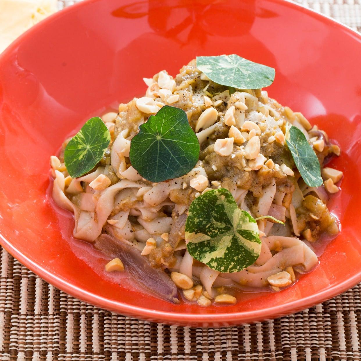 Miso Tofu Shirataki Noodles with Roasted Eggplant & Nasturtium Leaves