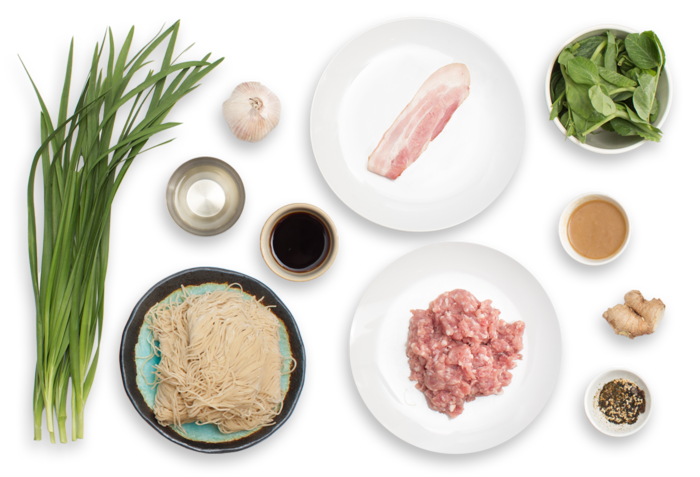 Recipe: Triple Pork Mazemen with Roasted Garlic & Pea Tips - Blue ...