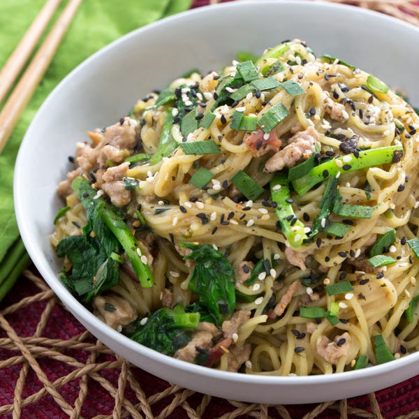 Triple Pork Mazemen with Roasted Garlic & Pea Tips