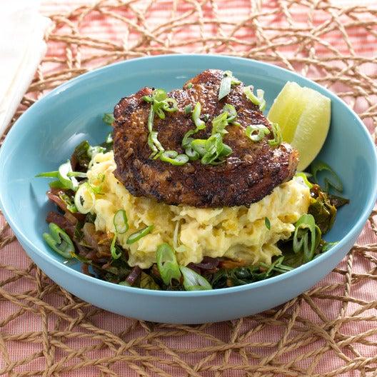 Piri-Piri Chicken with Coconut-Smashed Plantains & Stewed Collard Greens