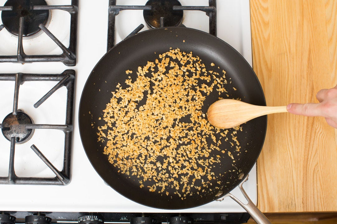 Toast the breadcrumbs & serve your dish: