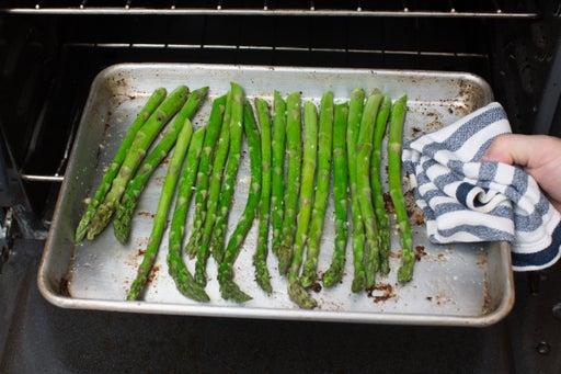 Roast the asparagus & serve your dish: