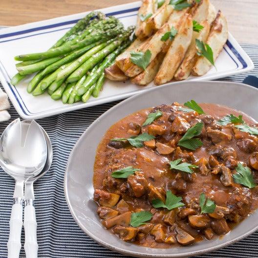 Salisbury Steaks with Spiced Potato Wedges & Roasted Asparagus