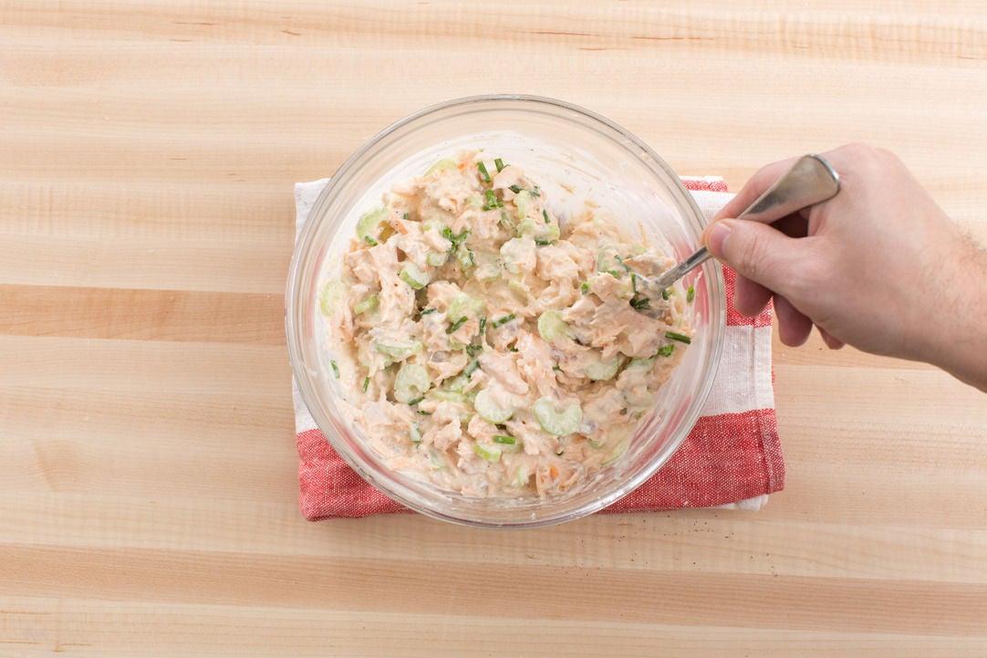 Make the salmon filling & vinaigrette: