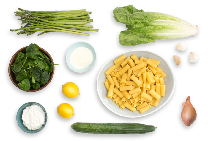 Creamy Asparagus Rigatoni with Romaine Salad & Lemon-Parmesan Dressing ingredients