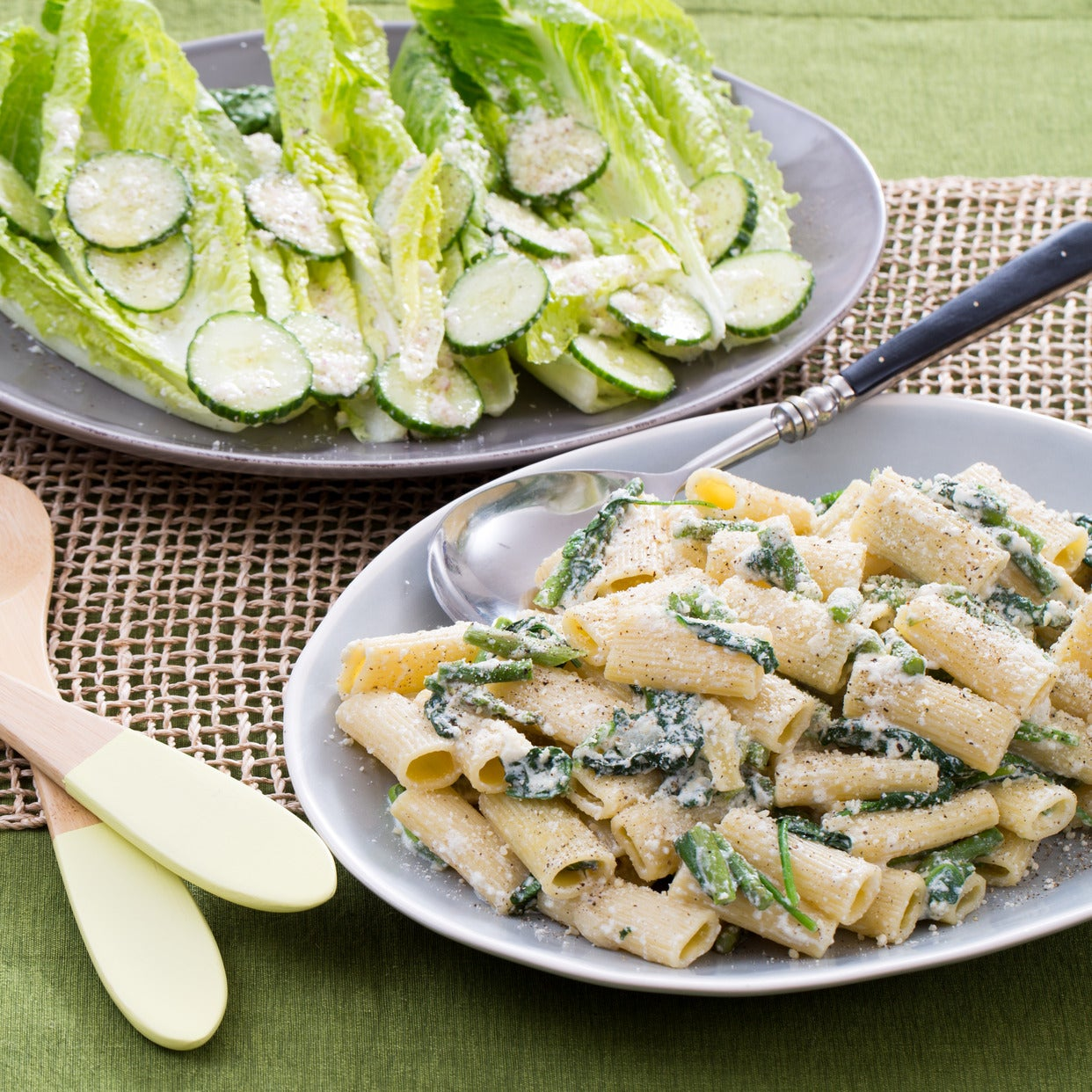 Creamy Asparagus Rigatoni with Romaine Salad & Lemon-Parmesan Dressing