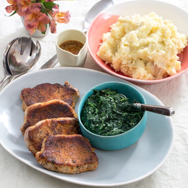 Spiced Pork Chops with Cheesy Mashed Potatoes & Garlic Spinach