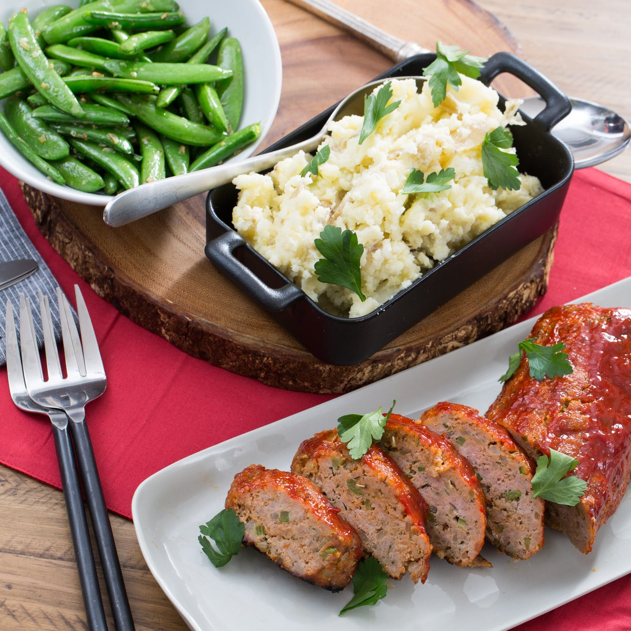 Turkey Meatloaf with Creamy Mashed Potatoes & Sauteed Snap Peas