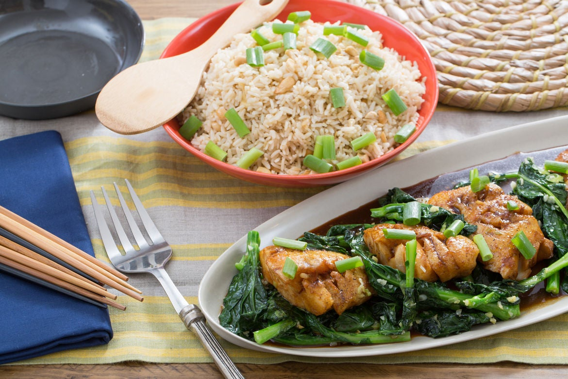 Star Anise & Soy-Glazed Cod with Gai Lan & Cashew Brown Rice