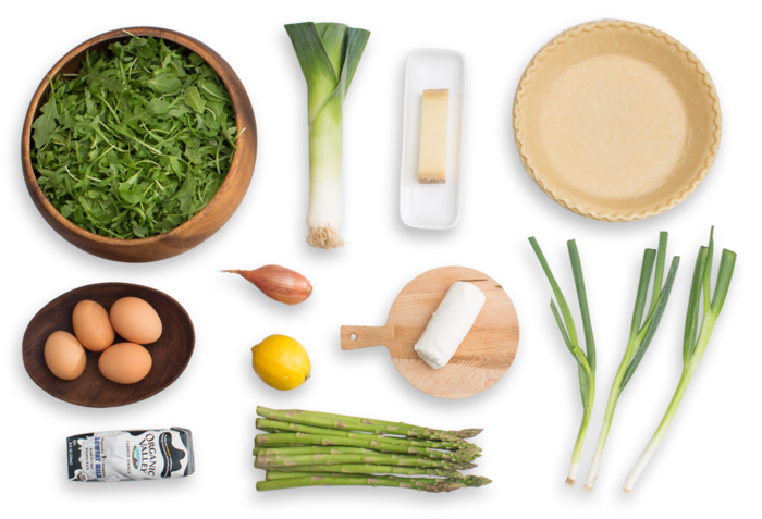 Asparagus & Leek Spring Quiche with Goat Cheese & Arugula Salad ingredients