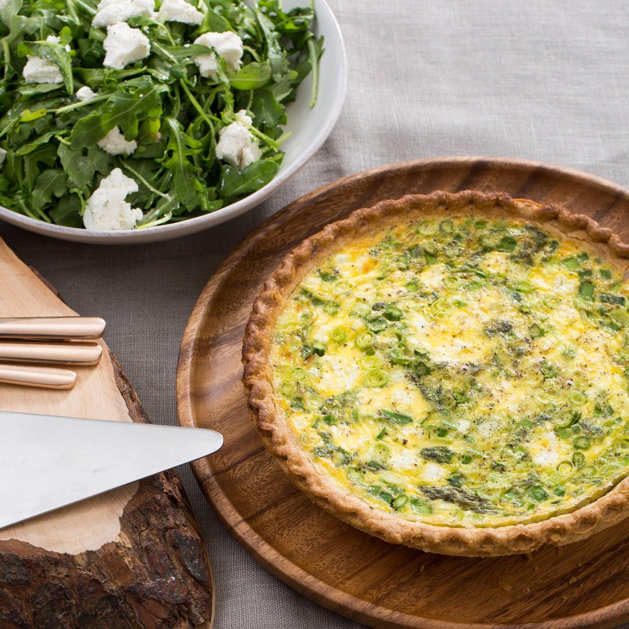 Asparagus & Leek Spring Quiche with Goat Cheese & Arugula Salad