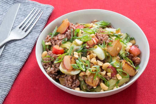 Sweet & Sour Vegetable Stir-Fry with Radishes, Bok Choy & Pink Rice