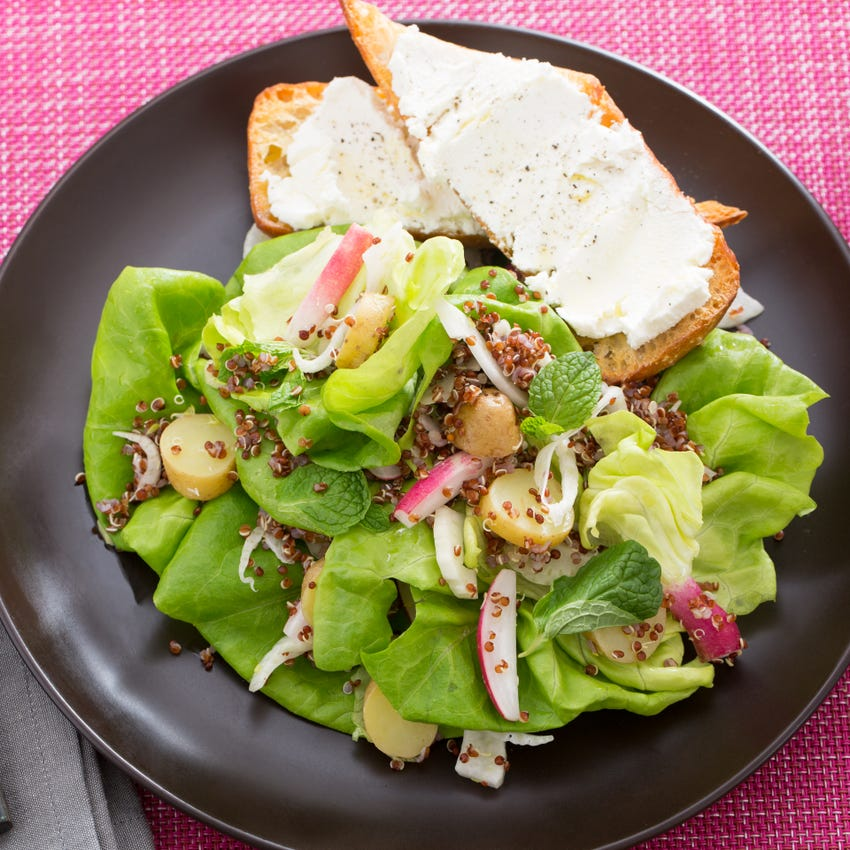 Hearty Spring Salad with French Breakfast Radishes & Goat Cheese Toast