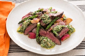 Sirloin Tip Steaks with New Potato, Asparagus & Radish Hash