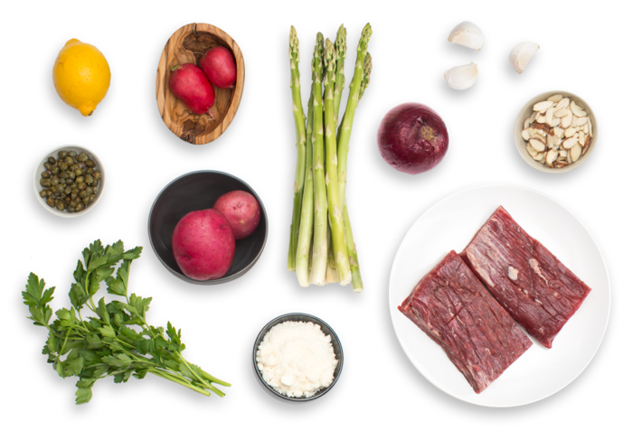 Sirloin Tip Steaks with New Potato, Asparagus & Radish Hash ingredients