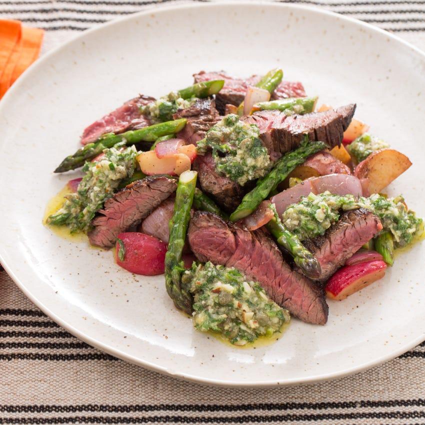Sirloin Tip Steaks with New Potato, Asparagus & Radish Hash