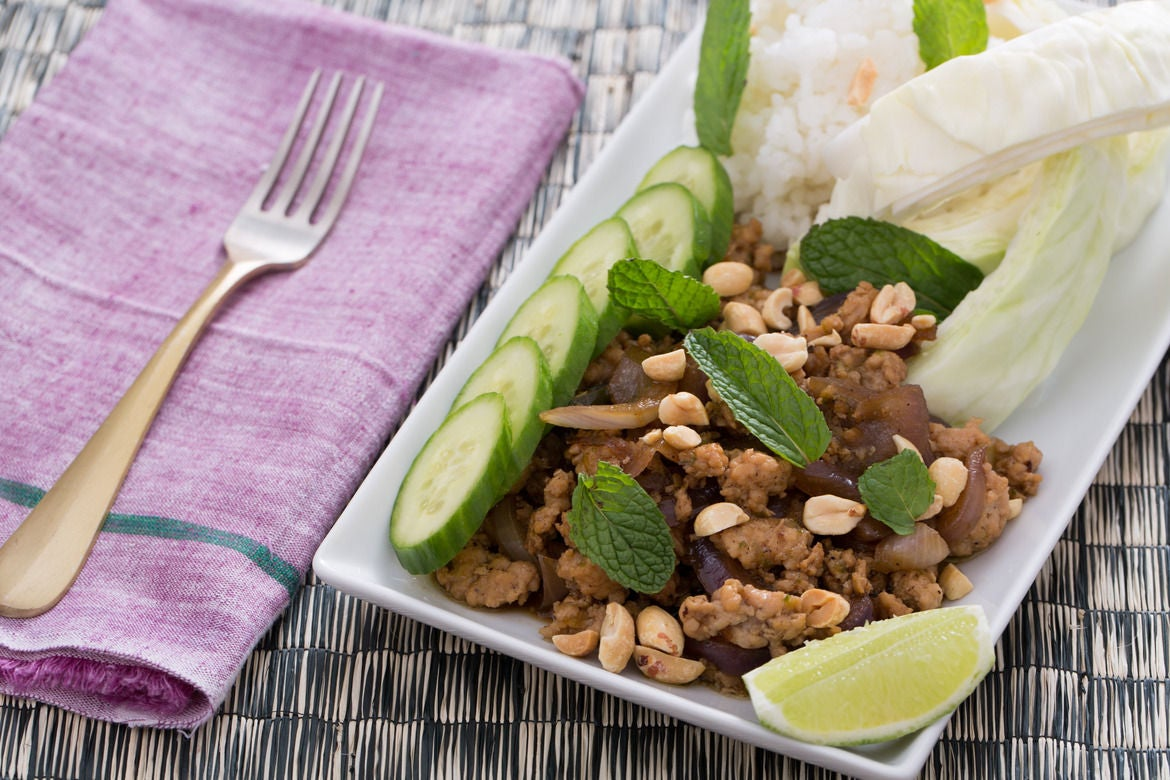 Laotian Larb Gai with Sticky Rice, Peanuts & Mint