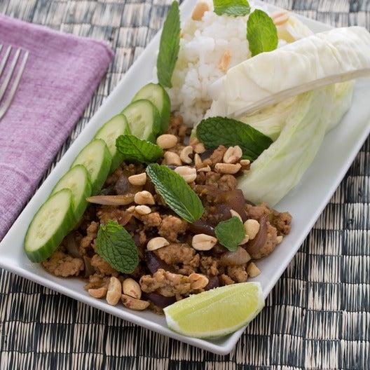 Laotian Larb Gai with Sticky Rice, Peanuts & Mint