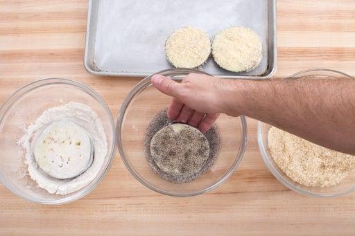 Bread the eggplant:
