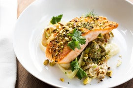 Dukkah-Spiced Salmon with Spring Vegetable & Oyster Mushroom Ragout