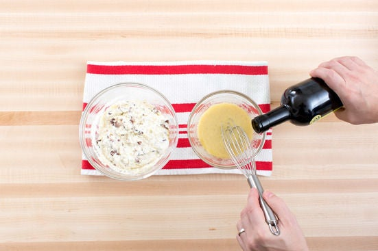 Make the ricotta mixture & vinaigrette: