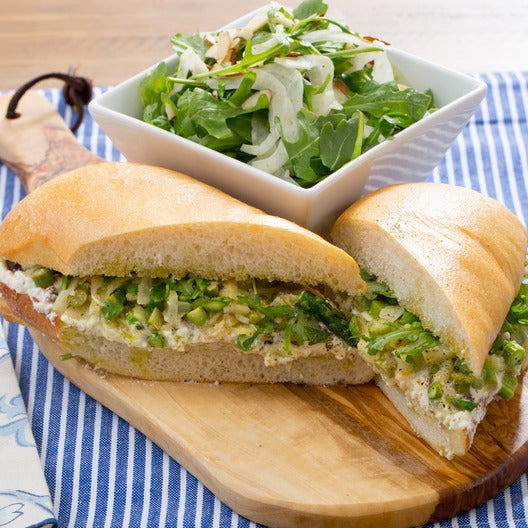Asparagus & Ricotta Sandwich with Arugula, Almond & Fennel Salad