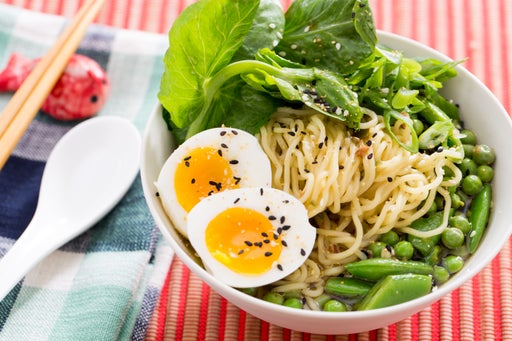 Three Pea & Barley Miso Ramen with Fresh Ramen Noodles & Soft-Boiled Eggs