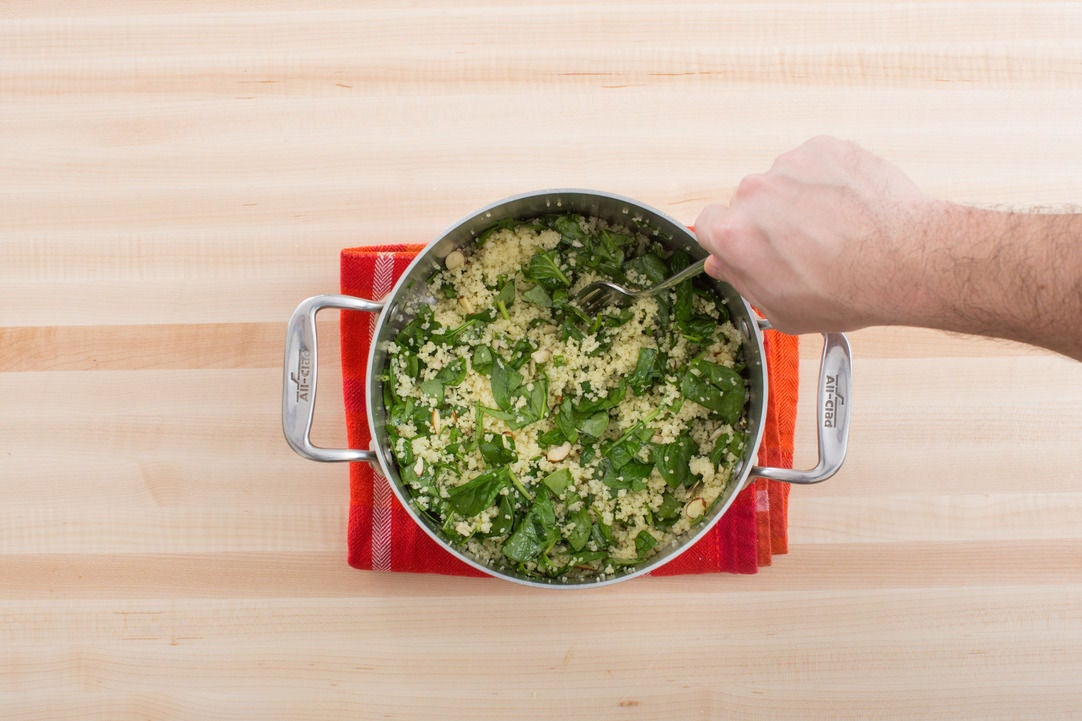 Make the spinach-almond couscous: