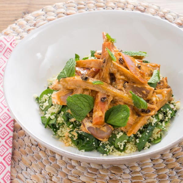 Harissa-Glazed Heirloom Carrot Salad with Date Molasses & Spinach-Almond Couscous