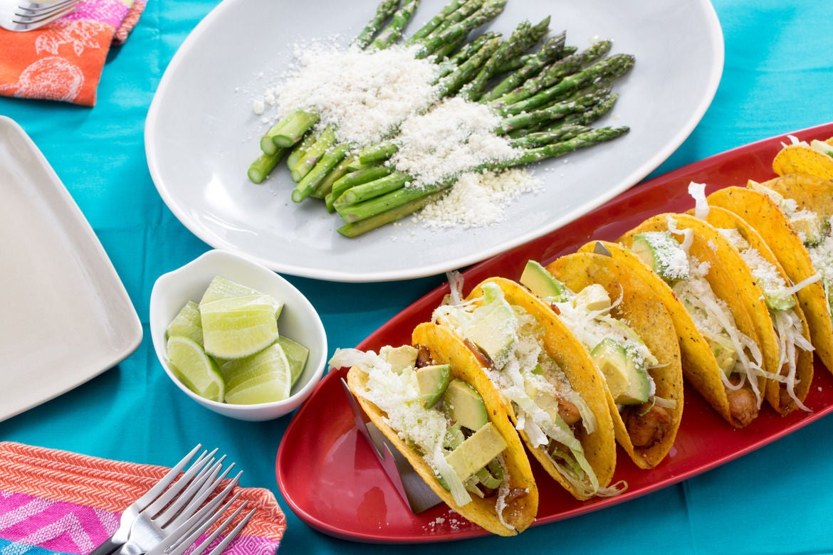 Crunchy Chicken Tacos with Avocado, Cotija Cheese & Roasted Asparagus