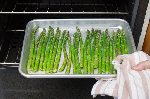 Roast the asparagus: