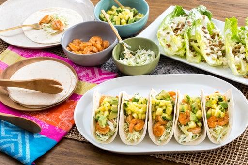 Shrimp & Pineapple Soft Tacos with Creamy Cabbage Slaw & Crunchy Romaine Salad