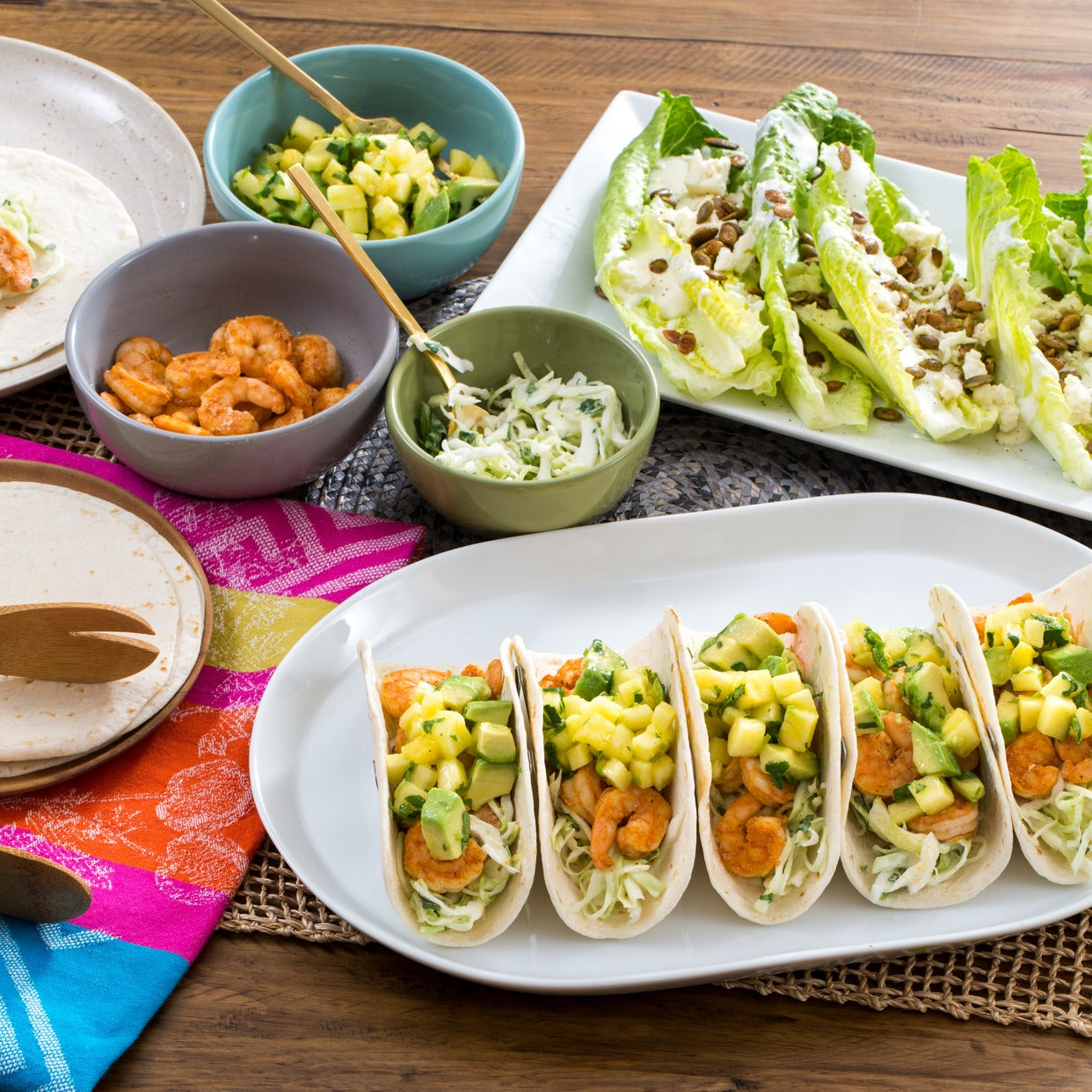 Shrimp & Pineapple Soft Tacos with Creamy Cabbage Slaw & Crunchy Romaine Salad