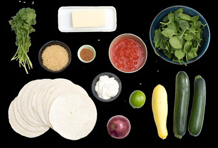 Zucchini & Yellow Squash Enchiladas with Salsa Roja & Monterey Jack Cheese ingredients